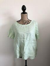 J. Crew Scalloped Embroidered Linen Shirt Size 14 Mint Seafoam Green Blouse