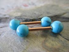 Full Set-2 Barbell Matrix Turquoise Nipple Bar Rings Tongue Rings 14G-Rose Gold