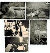 5x Foto typisch DDR Camping Madel im Bikini, Trabant, Zelt, Mann, nude, um 1980