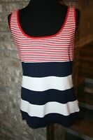 NEW Chaps Womens Sailor Bay Red White Navy Blue Stripes Sleeveless Sweater SZ L