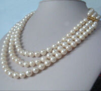 """3 row strands natural 9-8mm akoya white pearl necklace 18""""19""""20"""" 14K gold clasp"""