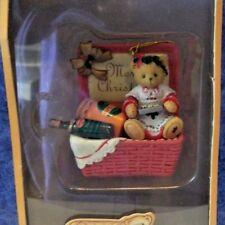 Cherished Teddies Hanging Ornament Enesco Merry Christmas Basket 406627