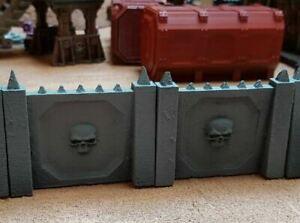 Gothic Skull pattern defence walls - Warhammer, Necromunda Killteam  - Straight