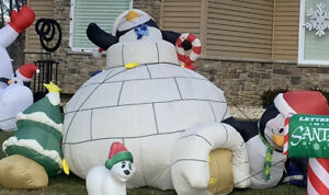 Vintage Christmas Penguin Igloo Tree 10' Tall Gemmy Airblown Inflatable Parts?