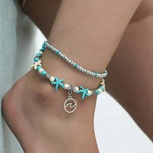 2 Layer Women's Boho Ankle Anklet Bracelet Turquoise Chain Foot Beach Jewelry YU