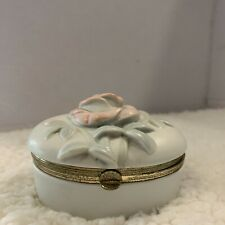 Vintage Fitz And Foyd Rose 1983 Porcelain Trinket Box