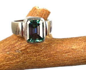4.36 Ct Certified Emerald Cut Green Diamond Solitaire Authentic 925 Silver Ring
