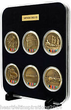 Vietnam Medallions Set Of Six in Black Velvet Acrylic Display Case With Stand