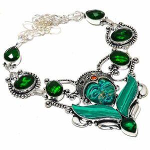 """Flying Goddess - Malachite, Chrome Diopside Gemstone Jewelry Necklace 18"""" ZN-897"""