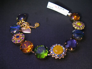 MARIANA BRACELET SWAROVSKI CRYSTALS FLOWER GREEN MULTI COLOR Yellow Gold PL
