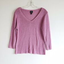 Eileen Fisher Women's 100% Silk Lilac V Neck Pullover Sweater Sz M