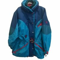 Degre 7 Womens Ski Jacket Size 8 M 80s 90s Vintage Blue Pink Color Block Hood