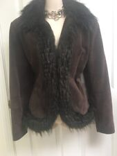 Guess Women's Suede Leather Faux Fur Brown Coat Jacket Size Small Rare