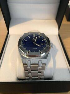 Luxury Men's AP Style Watch Silver & Blue, Stainless Steel Luminous RRP £44.99