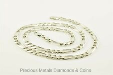 Sterling Silver 24in 4.5mm Polished Flat Figaro Necklace Chain Metal Wt-12.62g