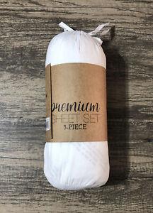 Premium Sheet Set 3 Piece 34046 Ultra Soft Twin XL White 100% Hypo Allergenic