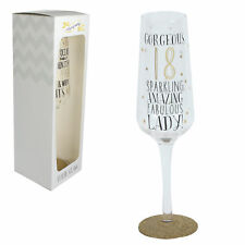 Signography Sparkling Prosecco Flute Glass in Gift Box - 18th Birthday