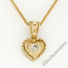 "14K Yellow Gold Round Bezel Diamond Petite Sand Blast Heart Pendant w/ 16"" Chain"