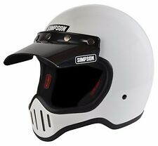 Simpson Retro M50 White Motorycle Full Face Helmet 5 Snap Visor SIZE Medium