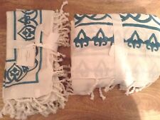 Pottery Barn Yara Tassle 70x108 Tablecloth & 4 Napkins Turquoise & Ivory New
