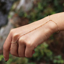 Boho Golden Bracelet Slave Bracelet Chain Link Hand Harness Finger Ring