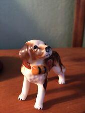 Vtg St Bernard Miniature Bone Chine Dog Puppy Figurine Shiken Japan Beer Barrel