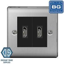 BG 2 Gang Brushed Steel HDMI Socket Satin Chrome Black insert NBSEMS2 NETHDMIBK