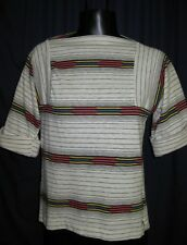 VTG Rainbow Stripe Retro Blouse Shirt Top 3z43 White Black Stripes Short Sleeve