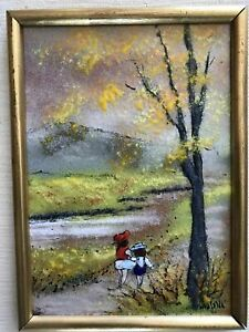 Louis Cardin Era 1970s Copper On Enamel Painting By Mafalda Children On Path