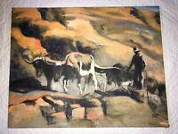 VINTAGE western cowboy  landscape original hand painted oil PAINTING by Lindblad