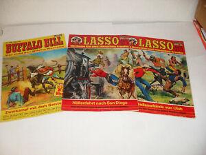 2 Stück LASSO + 1 Stück BUFFALO BILL - Comic GB - Bastei Verlag Nr: 498 + 490