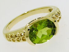 R160- Genuine Solid 9K 9ct Yellow GOLD NATURAL Peridot Solitaire Ring size M