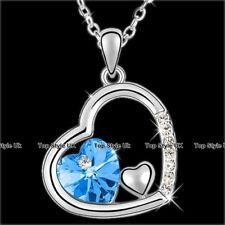 Tripple Heart Necklace Aquamarine Christmas Birthday Gifts for Her Women Mum B5