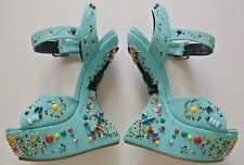 Aqua GIUSEPPE ZANOTTI Crystal-Studded Platform Sandals,6 1/2inHeels,Size 36 1/2