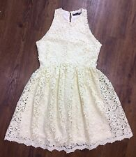 Zara Basic Women's Medium Off-White Floral Crochet Lace Sleeveless Flare Dress