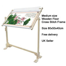 Cross Stitch Frame 32CT Wood Embroidery Tapestry Floor Stand Sewing Hoop 78x50cm