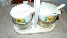 CORELLE GEMCO SUNSATIONS CREAM & SUGAR SET WITH CADDY VERY RARE FREE USA SHIP