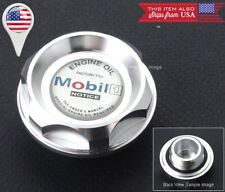 M37 x3.0 Silver Screw on Engine Oil Filler Cap Cover w/ Silver Mobil 1 Emblem