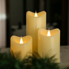 Remote Contral Moving Flame Pillar Led Candle with Melted Side, Set of 3