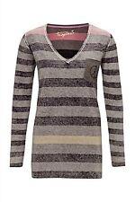 Lange Gestreifte Feine Damen-Pullover & Strickware mit V-Ausschnitt