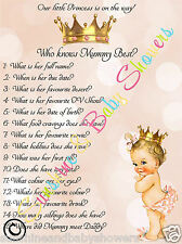 Baby Shower Game Who Knows Mummy Best  PRINCESS BABY GIRL 20 Sheets Players