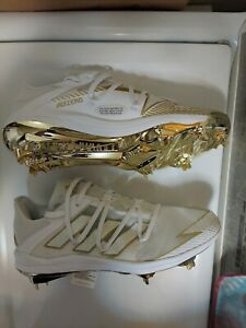 NEW Adidas Afterburner 7 Gold Baseball Cleats, White/Gold, Men's Size 10, EG5631