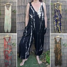 Tie dye dungarees one piece romper hippy hippie boho festival bohemian jumpsuit