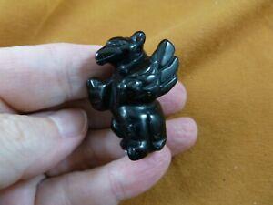 (Y-GRI-558) Black Onyx statue Griffin gemstone GARGOYLES Gothic stone carving