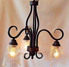 Rustic Bronze Hanging Chandelier Art Glass Shades Kitchen Foyer Entry Hall Light