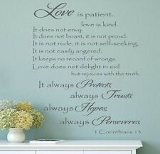 Love is Patient Love is kind Religious Vinyl lettering wall decal home family