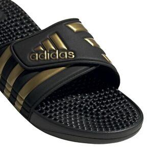 Mens Adidas Adissage Black Gold Slides Shower Hook&Loop Sandal EG6517 Size 7-14