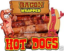 Hot Dogs Bacon Wrapped Decal 14 Hotdogs Concession Food Truck Cart Sticker