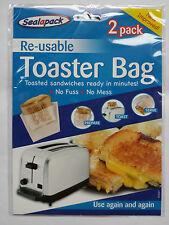 2 pack Reusable Toaster Toastie Sandwich Toast Bags Pockets Toasty Toastabags