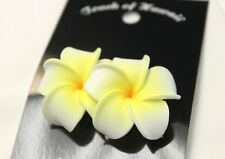 Hawaii Bridal Wedding Party Flower Hair Clip White & Yellow Plumeria ~Set of 2